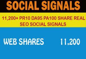 11,200+ PR10 DA95 PA100 share Real SEO Social Signals