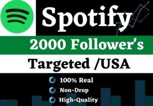 Get 2000 Spotify HQ Follower's non-drop, Lifetime guarantee