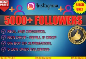 5000+ INSTAGRAM REAL AND ORGANIC FOLLOWERS .NON DROP. 0% BOT OR AUTOMATION.5-10% OVER DELIVERED.IF DROP WE WILL REFILL INSTANTY.SO NO WORRY.