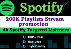 Add more than 200K plays to your song on Spotify & 2000 Listeners