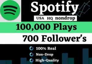 Get 100K USA HQ Nondrop Spotify Music playlist Track Plays And 700 Followers for best price