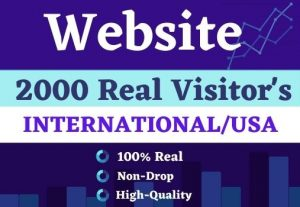 Get 2000 website Visitor's international  real||USA  Non drop for best price