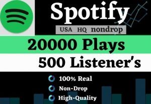 Get 20K USA HQ Non-drop Spotify Music playlist Track Plays And 500 Listeners for best price
