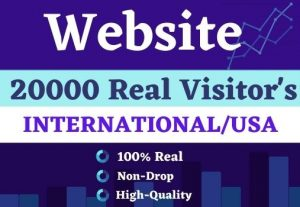Get 20000 website Visitors international real|| USA , Non drop for best price