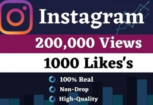 Get 2M Instagram Views and 100 likes HQ Non drop Life time guarantee for best price