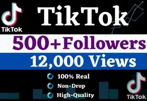 Get 500+ TikTok Organic Followers, 12000+ views & 300 likes.It is just for Real User, High Quality, Non-drop, Lifetime User Guaranteed