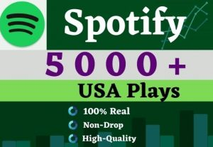 Get 5000 to 7000 Spotify  Plays From HQ Account of USA & targeted Country .Lifetime Guarantee.