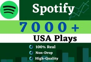 Get 7000 to 9500 Spotify  Plays From HQ Account of USA & targeted Country. Lifetime Guarantee.