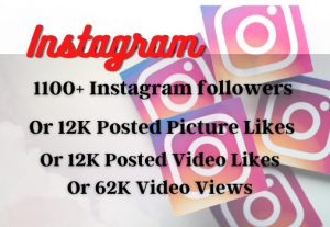 1100+ Real And Organic Instagram Followers or 12K Posted Picture / Video Likes or Video views, Real and Active users Guaranteed