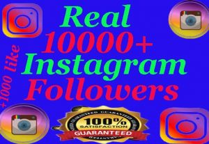 I will Provide 10K+ Instagram Real followers and 1000+ non drop like (GUARANTEED) +110 comments and promotion
