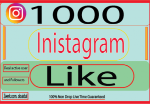I will provide 1000 like Instagram Real Active User and Non Drop !100% live time Guaranteed