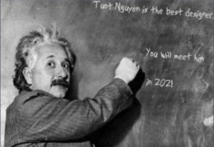 I will create Einstein write the 3 messages on the blackboard