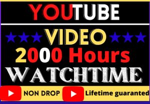 i will do your youtube video 2000 hour watchtime,  good quality, non drop, lifetime permanent, 100% real and organic