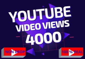 YouTube 4000 video views best quality, 100% real, non drop, life time permanent