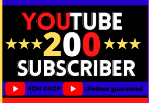 I Will Do Super Fast Your YouTube Channel 200 Subscriber , organic real active user, non-drop, and lifetime guaranteed