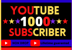i will do youtube 1000 subscribers, Best quality, Non drop, life time granted, 100% real and organic