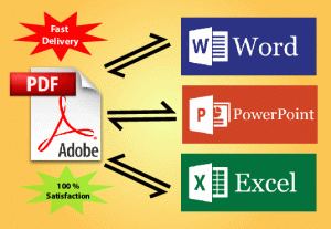I will convert/alter pdf to word and Excel or word to pdf