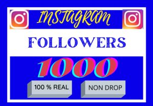 I will do super fast organic instagram 1000 followers, Non drop ,100% real and organic