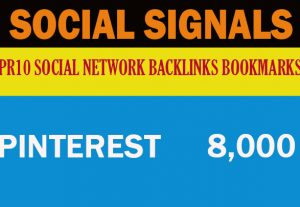 8.000 Pinterest Social Signals Google First Page Ranking Help To Increase Website Traffic Bookmark