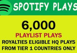 6000 Spotify Playlist Plays from TIER 1 Countries USA/CA/EU/AU/NZ/UK