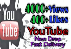 I will provide 4000+ Views 400+ Likes on YouTube!! Fast and HQ!!