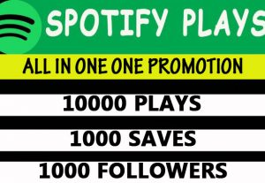 Spotify 10,000 plays, 1000 saves, 1000 followers promotion