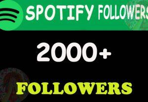 2000 Spotify Followers From TIER 1 countries. USA/CA/EU/AU/NZ/UK