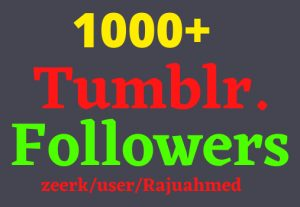 Get 1000+ Tumblr Organic and Real followers, High Quality, non-drop, lifetime guaranteed