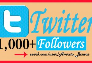 Add 1,000+ Organic Twitter Followers, High Quality, Non-Dropped, Real Active User 100% Guarantee.