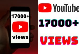 I will add 17000+ YouTube views ,all views are 100% real and organic.