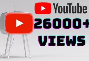 I will add 26000+ YouTube views ,all views are 100% real and organic.