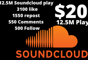 12.5M  Soundcloud play  with 3100 like, 1550 repost, 550 Comments, 500 Follow