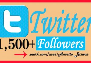Add 1,500+ Organic Twitter Followers, High Quality, Non-Dropped, Real Active User 100% Guarantee.