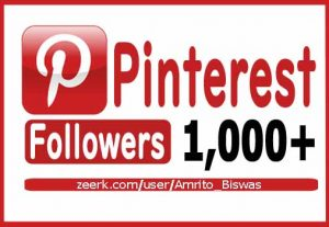 You Will Get 1000+ Pinterest Organic and Real Followers, Non-Dropped and Lifetime Guarantee.
