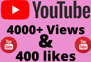 I will add 4000+ YouTube views & 400+ likes ,all are 100% real and organic.
