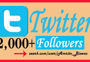 Add 2,000+ Organic Twitter Followers, High Quality, Non-Dropped, Real Active User 100% Guarantee.