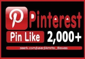 Add 2,000+ Pinterest Organic And Real Pin Likes, Non-Dropped and Lifetime guaranteed.