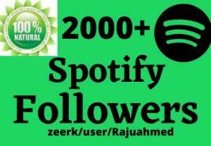 I will do Provide 2000+ Spotify followers And Non Drop 1a00% Life Time Guaranteed