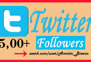 Add 500+ Organic Twitter Followers, High Quality, Non-Dropped, Real Active User 100% Guarantee.