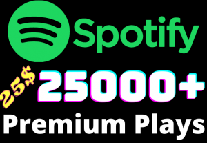 I will add 25000+ Spotify 𝐏𝐑𝐄𝐌𝐈𝐔𝐌 Plays ,all plays are 100% real and organic.