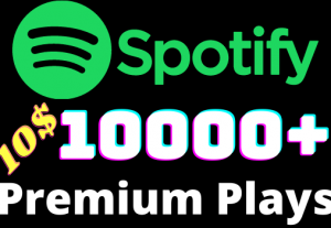 I will add 10000+ Spotify 𝐏𝐑𝐄𝐌𝐈𝐔𝐌 Plays ,all plays are 100% real and organic.