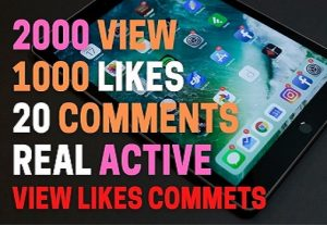 i will 2000+ view ,1000 likes ,and 20 commants real active  custum user, life time guaranted