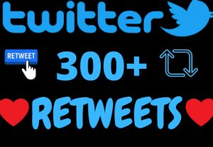 I will add 300+ twitter retweets ,all retweets are 100% real and organic.