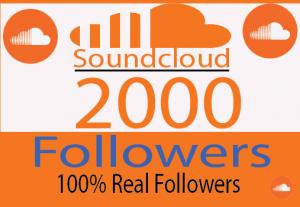 I will Provide 2000+  organic SoundCloud Followers Real Followers And 100% Live time Guaranteed