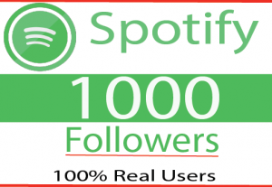 I will provide 1000+ organic Spotify followers 100% Real And Live Time Guaranteed