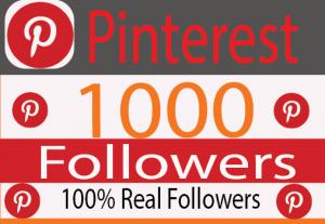 I Will Provide 1000+ Pinterest followers Real active User Non Drop 100% Guaranteed