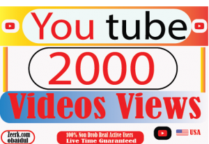 I Will provide your 2000 YouTube video views 100% Non Drop  And Real Active user Live Time Guaranteed