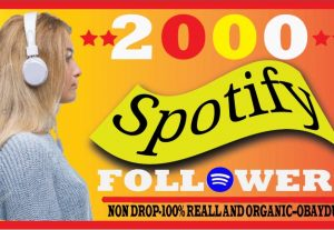 I Will Provide Spotify 2000 Followers. Non-Drop,High Quality ,Organic And Life Time Guarantee