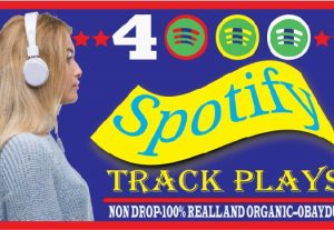 I Will Provide Spotify 4000 Track Plays. High quality, 100% Organic And Life Time Guarantee
