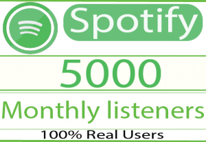 I will Provide 5000 your spotify monthly listeners and 100% Live time Guaranteed